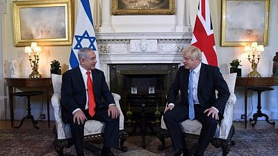 British Prime Minister Boris Johnson and Israeli Prime Minister Benjamin Netanyahu in London on Sept. 5, 2019. Photo by Chaim Tzach/GPO.