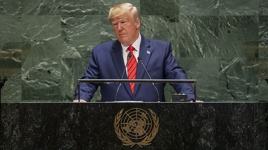 U.S. President Donald Trump addresses the annual U.N. General Assembly in New York on Sept. 24, 2019. Credit: UN Photo/Cia Pak.
