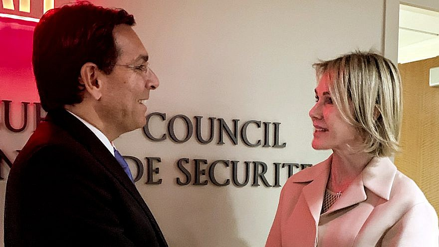 Israeli Ambassador to the U.N. Danny Danon meets with his U.S. counterpart, Kelly Craft, on Sept. 20, 2019. Credit: Israel Mission to the U.N.