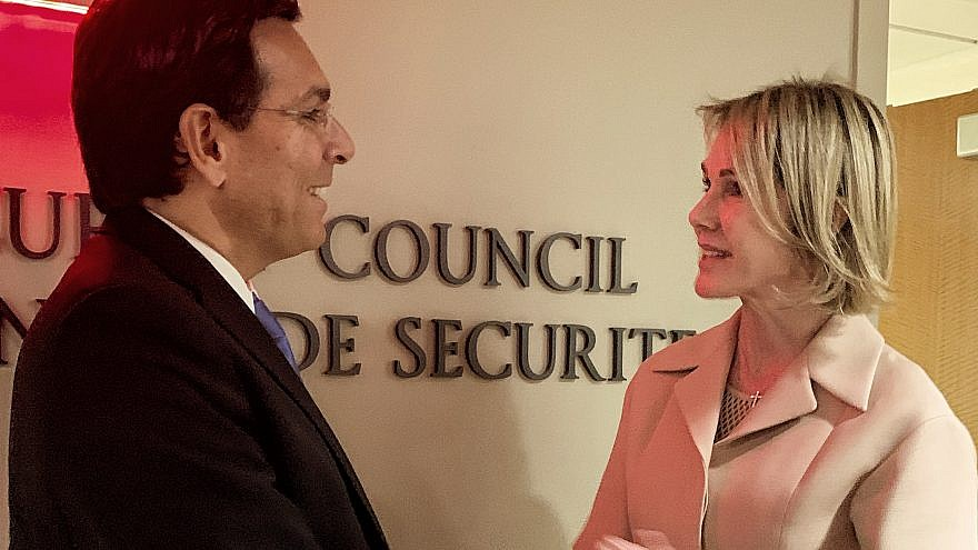 Israeli Ambassador to the United Nations Danny Danon meets with his U.S. counterpart, Kelly Craft, on Sept. 20, 2019. Credit: Israel Mission to the U.N.