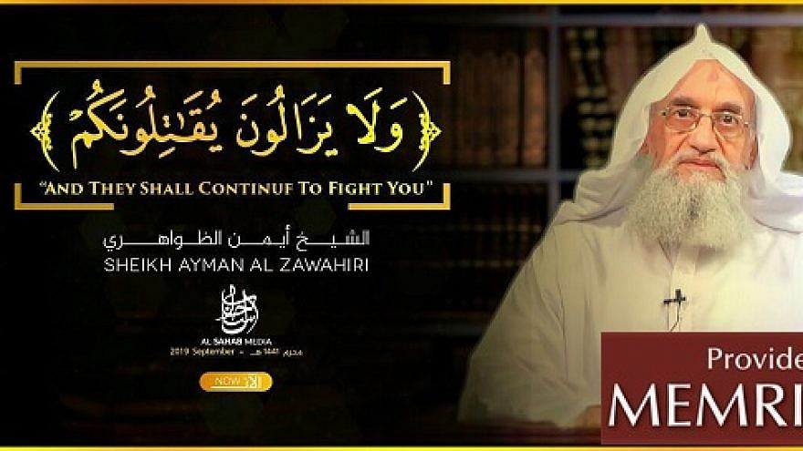 An image from a video released on Sept. 11, 2019, by the media arm of Al-Qaeda, featuring the group's leader Ayman al-Zawahiri. (MEMRI)