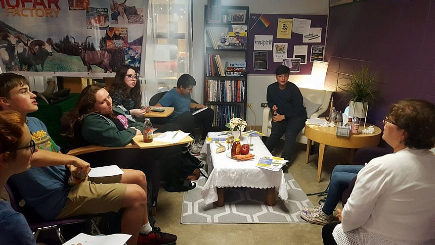 Students from Niles North High School in Skokie, Ill., meet as part of a newly created club, the Association of Jewish Students. At right is special-education teacher Dr. Anne Zavell, the club sponsor, Credit: CTeen.