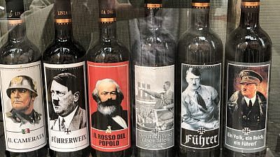 """Italian winemaker Vina Lunardelli's controversial wine bottles, part of a """"Historical Series,"""" features pictures of Hitler, Nazi slogans and pictures of notorious SS members, such as Heinrich Himmler. Source: Twitter."""