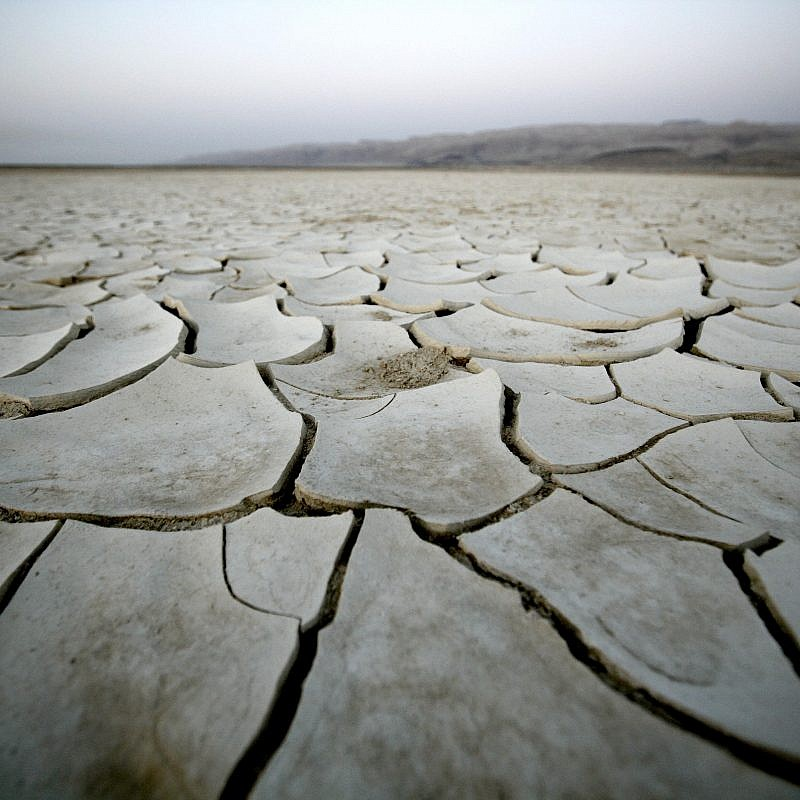 A view of a dry lake bed near Israel's Dead Sea. Photo by Abir Sultan/Flash90.