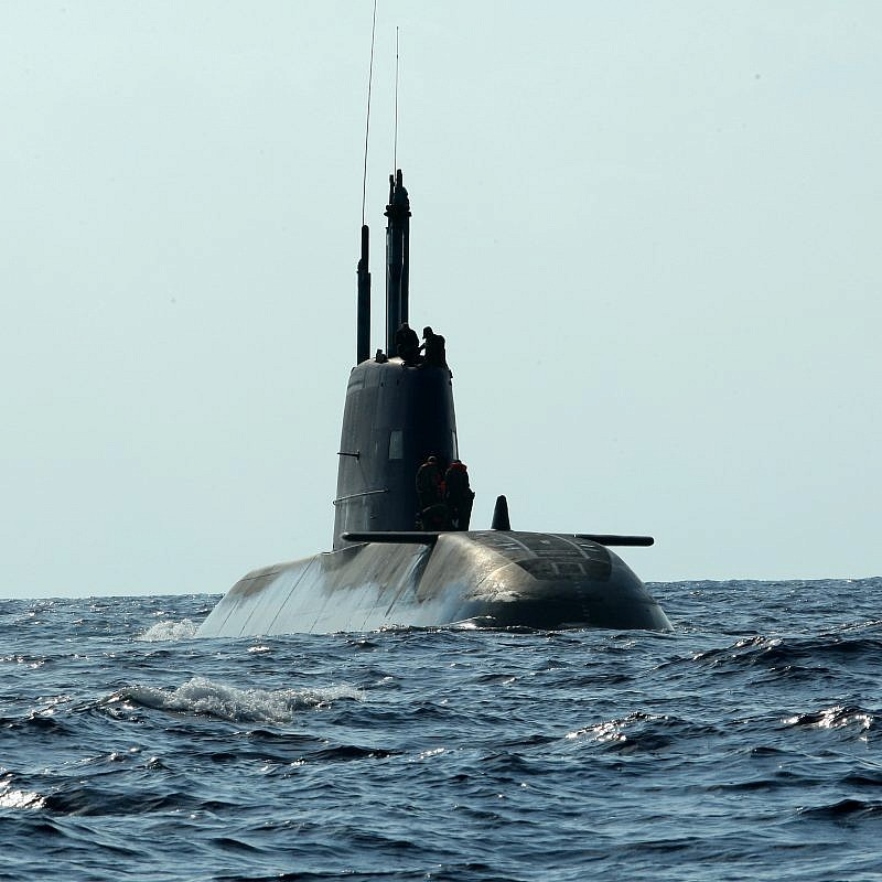 An Israeli Navy Dolphin-class submarine off the coast of Haifa on Sept. 7, 2009. Photo by Moshe Shai/Flash90.
