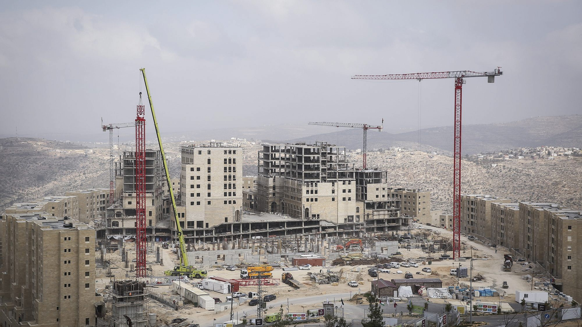 View of the construction of the new Palestinian city of Rawabi in Area A, on February 23, 2014. Photo by Hadas Parush/Flash 90.