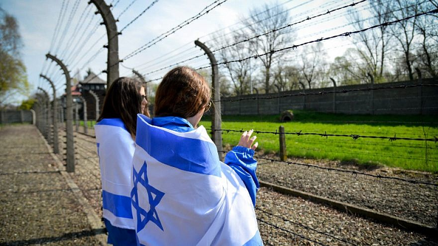 """Jewish youth from all over the world participating in the """"March of the Living"""" at the Auschwitz-Birkenau camp site in Poland, as Israel marks annual Holocaust Memorial Day on April 16, 2015. Photo by Yossi Zeliger/Flash90."""