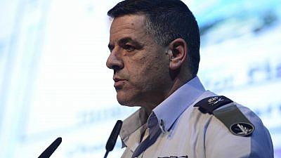 Israeli Air Force Commander Maj. Gen. Amikam Norkin speaking in 2017. Photo by Tomer Neuberg/Flash90.