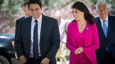 Israeli Ambassador to the United Nations Danny Danon (left) walks with U.S. Ambassador to the United Nations Nikki Haley as she arrives for a meeting at the President's Residence in Jerusalem, June 7, 2017. Photo Yonatan Sindel/Flash90.