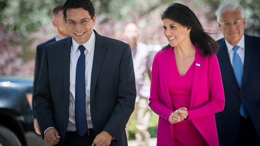 U.S. Ambassador to the U.N. Nikki Haley (right) walks with Israeli Ambassador to the U.N. Danny Danon as she arrives for a meeting at the President's Residence in Jerusalem, June 7, 2017. Photo Yonatan Sindel/Flash90.