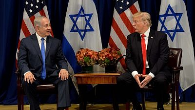 Israeli Prime Minister Benjamin Netanyahu meets with U.S. President Donald Trump in New York on Sept. 18, 2017. Photo by Avi Ohayon/GPO.