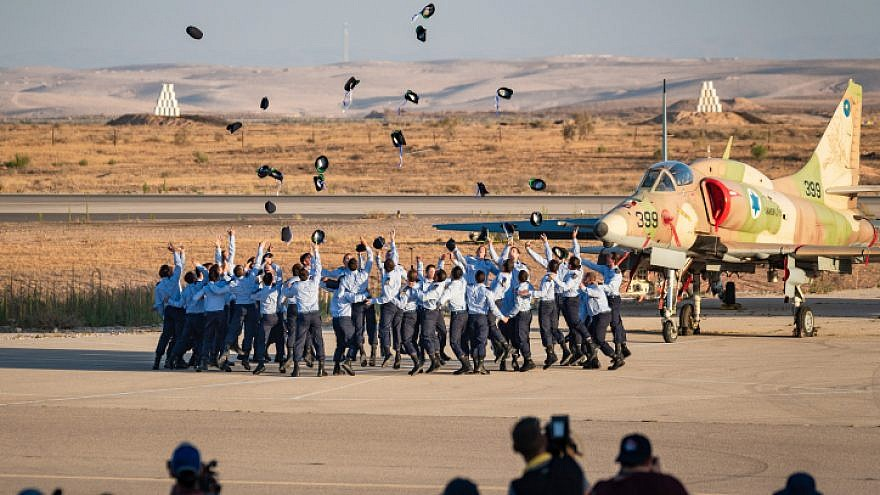 A graduation ceremony for soldiers who have completed the IAF flight course, at the Hatzerim Air Base in the Negev desert, June 27, 2019. Photo by Mila Aviv/Flash90.