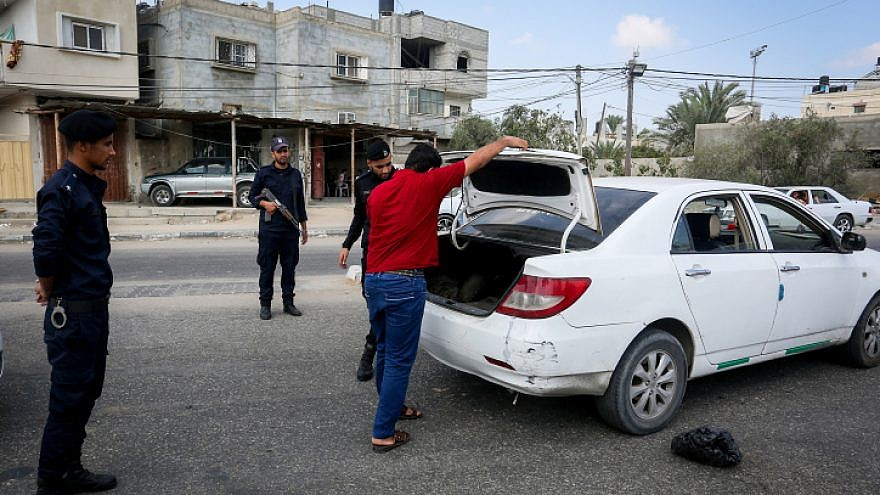 Hamas members staff a checkpoint in Rafah in the southern Gaza Strip on Aug. 28, 2019. Photo by Abed Rahim Khatib/Flash90.
