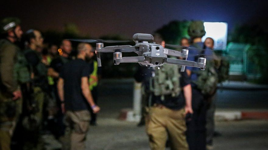 Illustrative: A drone is seen in flight during a joint drill of the Israel Defense Forces and the emergency squad of the town of Efrat in Gush Etzion on Aug. 28, 2019. Photo by Gershon Elinson/Flash90.