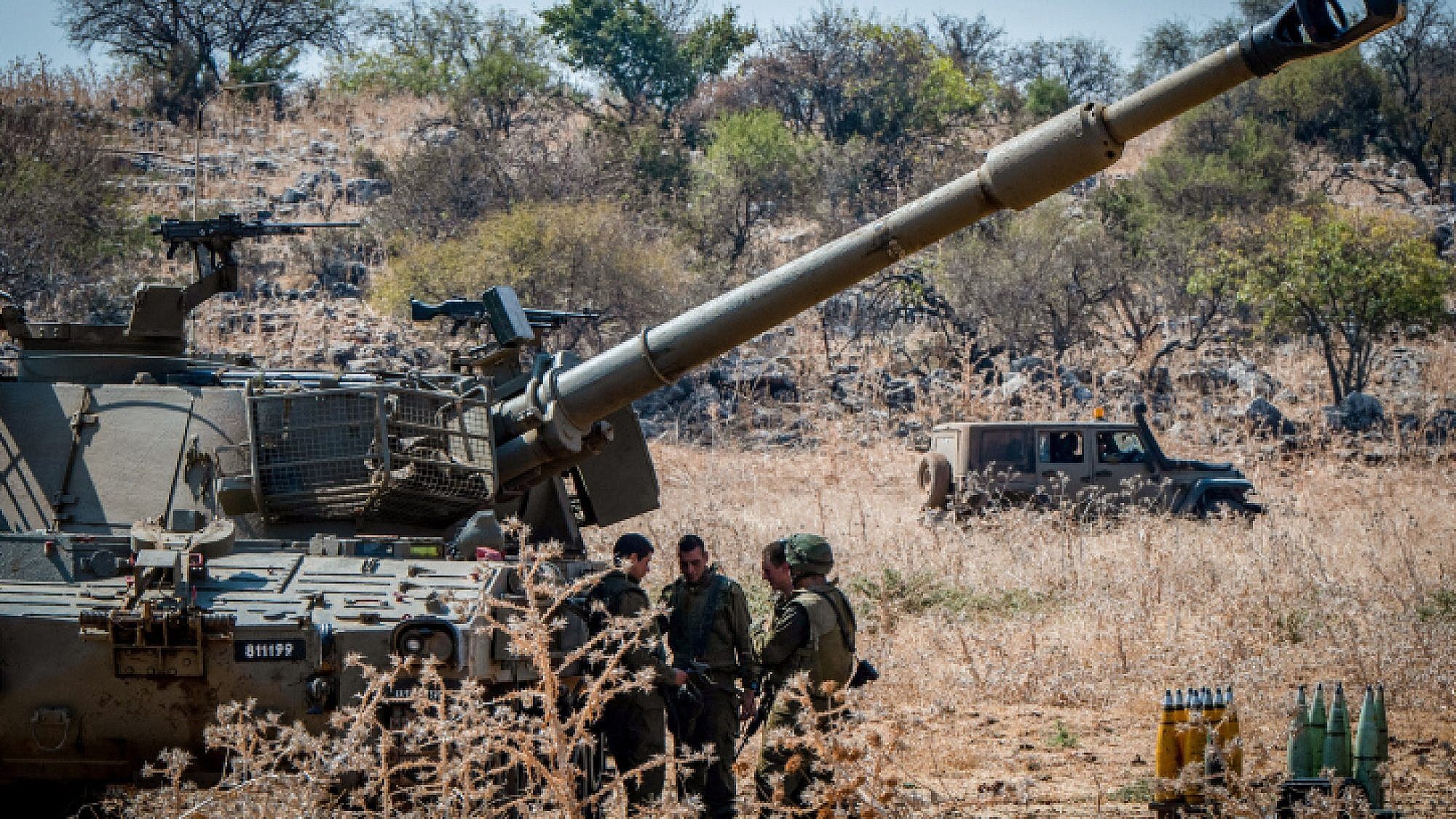 Israeli soldiers with artillery units deployed near the Lebanese border outside the town of Kiryat Shmona on Sept. 1, 2019. Photo by Basel Awidat/Flash90.