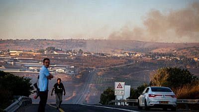 Smoke rises from a fire caused from a rocket fired from Lebanon near Moshav Avivim on the border with Lebanon, in northern Israel, Sept. 1, 2019. Photo by David Cohen/Flash90.