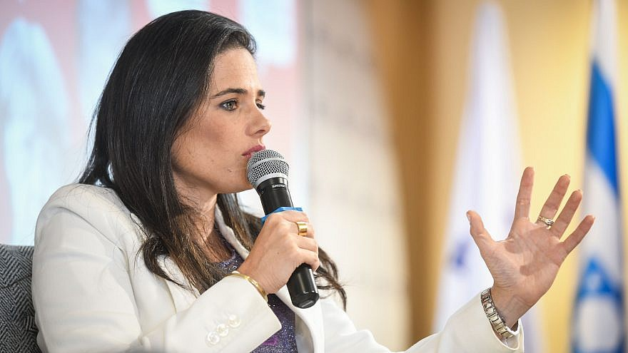 Yamina Party chairwoman Ayelet Shaked speaks at the Conference of the Manufacturers Association in Tel Aviv, on September 2, 2019. Photo by Flash90