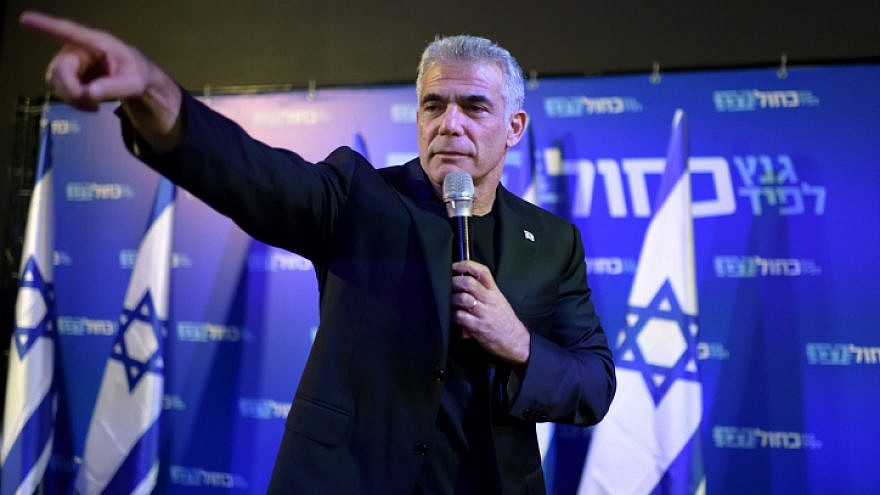 Yair Lapid of the Blue and White Party talks to supporters at an election campaign event in Herzliya on Sept. 04, 2019. Photo by Gili Yaari/Flash90.