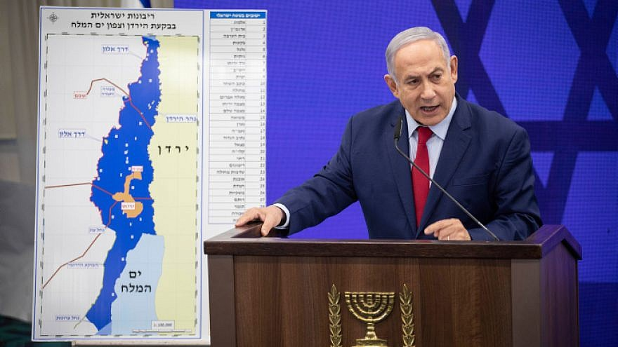 Israeli Prime Minister Benjamin Netanyahu delivers a statement to the press regarding implementing Israeli sovereignty over the Jordan Valley and it's Jewish settlements on Sept. 10, 2019. Credit: Hadas Parush/Flash90.