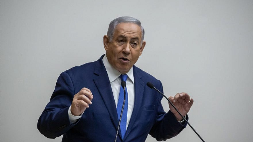 """Israeli Prime Minister Benjamin Netanyahu speaks during a discussion on the """"Security Cameras Law,"""" at the Knesset in Jerusalem on Sept. 11, 2019. Photo by Yonatan Sindel/Flash90."""