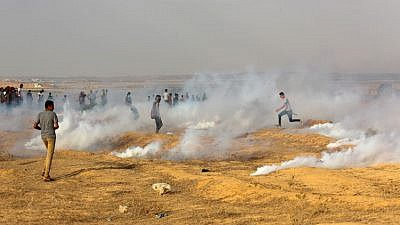 Palestinian protesters clash with Israeli forces near the Gaza-Israel border, east of Rafah in the southern Gaza Strip omn Sept. 13, 2019. Photo by Abed Rahim Khatib/Flash90.
