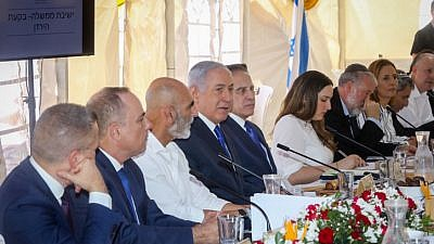 Israeli Prime Minister Benjamin Netanyahu leads the weekly cabinet meeting, in the Jordan Valley in southern Israel on Sept. 15, 2019. Photo by Marc Israel Sellem/POOL.