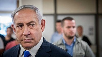 Israeli Prime Minister Benjamin Netanyahu gives a press statement at the Knesset on Sept. 15, 2019, a few days before the Israeli elections. Photo by Yonatan Sindel/Flash90.