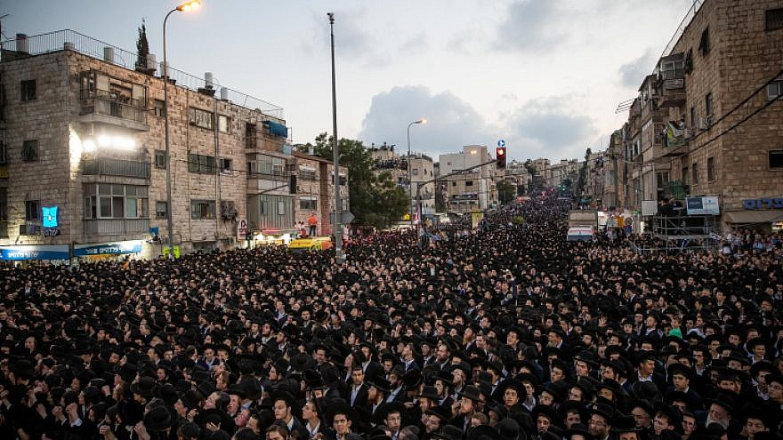 Thousands of ultra-Orthodox supporters of the United Torah Judaism Party rally in Jerusalem, on Sept. 15, 2019. Photo by Yonatan Sindel/Flash90.