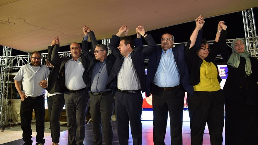 Joint List Party candidates celebrate as the first results in the Israeli elections are announced, Sept. 17, 2019. Photo by Basel Awidat/Flash90.