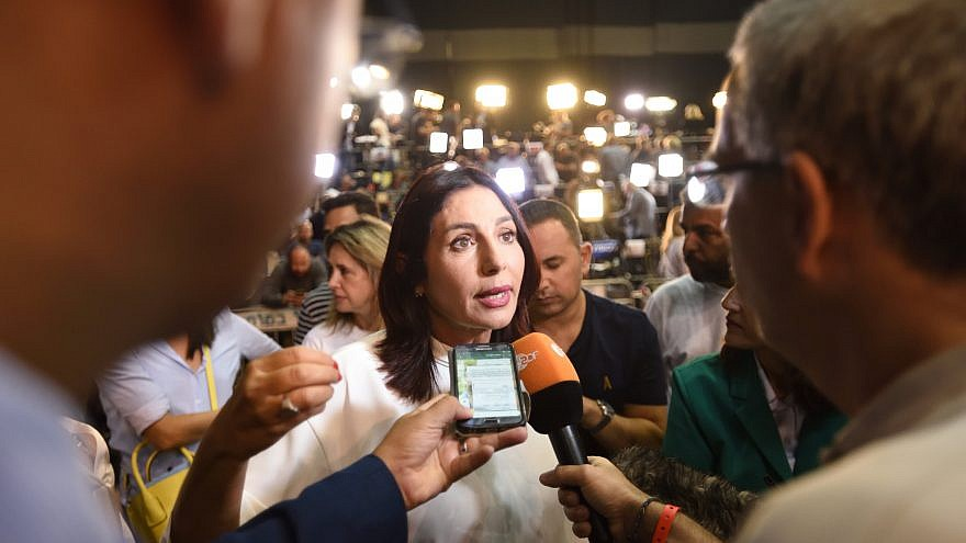 Israel's Minister of Sports and Culture Miri Regev, with supporters of the Likud Party  at party headquarters in Tel Aviv, soon after the publication of early voting results in the Israeli general elections on Sep. 17, 2019. Photo by Gili Yaari/Flash90.