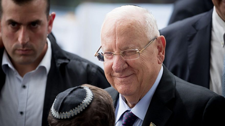Israeli President Reuven Rivlin at a memorial ceremony for the late Israeli President Shimon Peres at the Mount Herzl cemetery in Jerusalem on Sept. 19, 2019. Photo by Yonatan Sindel/Flash90.