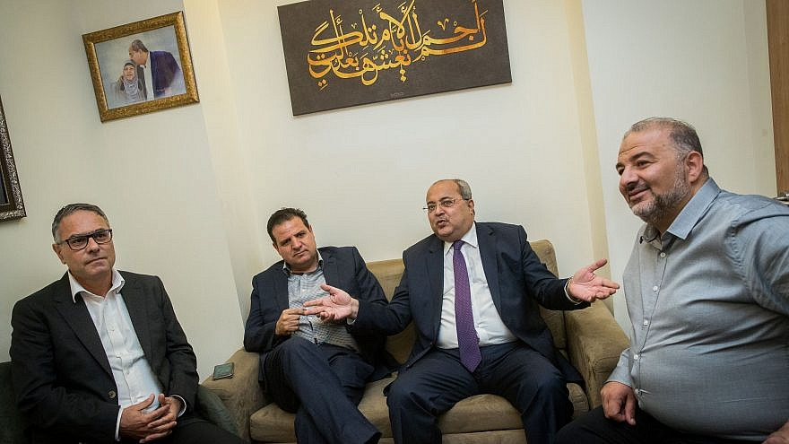 Leader of the Joint Arab List Ayman Odeh (second from left), and party members Ahmad Tibi (second from right), Mtanes Shehadeh (left) and Abd al-Hakim Hajj Yahya, meet at the Knesset on Sept. 22, 2019, Photo by Yonatan Sindel/Flash90.