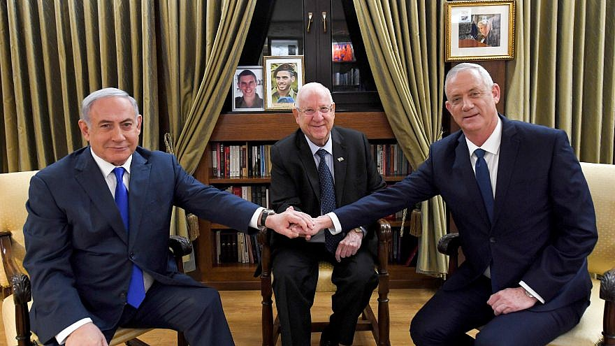 Israel's President Reuven Rivlin (center) meets with Israeli Prime Minister Benjamin Netanyahu (left) and Blue and White Party leader Benny Gantz, at the President's Residence in Jerusalem on Sept. 23, 2019. Photo by Haim Zach/GPO.