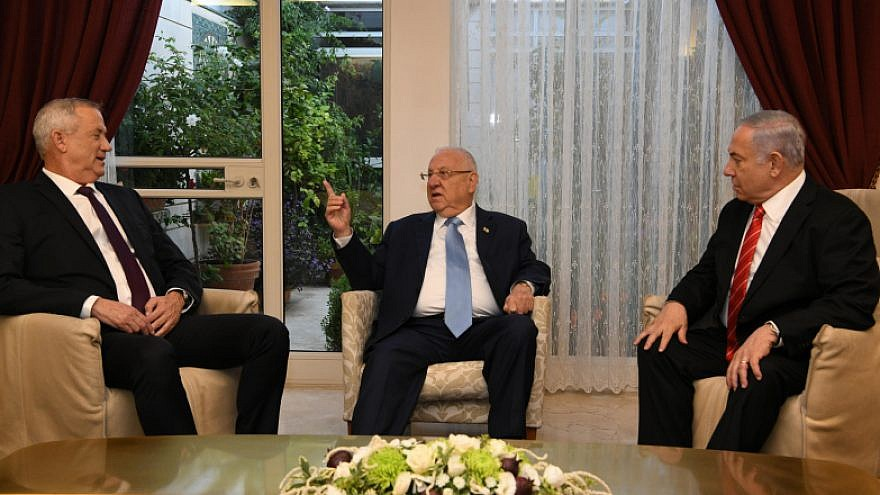 Israel's President Reuven Rivlin meets with Israeli Prime Minister Benjamin Netanyahu, and Blue and White Party leader Benny Gantz, at the President Residence in Jerusalem on Sept. 25, 2019. Photo by Amos Ben Gershom/GPO.