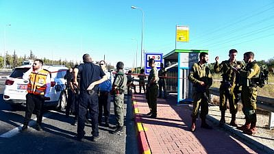 Israeli Border Police at the scene of a stabbing attack near Modi'in, on Sept. 25, 2019. Photo by Yossi Zeliger/Flash90.