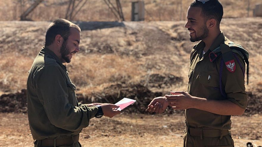 Friends of the Israel Defense Forces (FIDF) are providing High Holiday gift cards to some 9,000 soldiers in need and lone soldiers serving in the IDF so they can help celebrate Rosh Hashanah, September 2019. Credit: Courtesy.