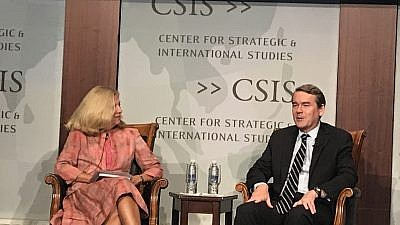 "Sen. Michael Bennet (D-Colo.) talks about his latest book, ""Dividing America: How Russia Hacked Social Media and Democracy,"" at the Center for Strategic and International Studies in Washington, D.C., on Sept. 10, 2019. Credit: Jackson Richman/JNS."