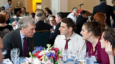 Jewish Theological Seminary Chancellor Arnold M. Eisen talks with students at one of many events. Credit: JTS.