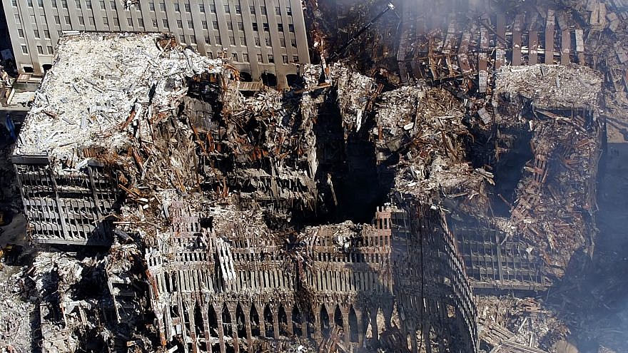 An aerial view showing a small portion of where the World Trade Center collapsed six days after the Sept. 11, 2001 terrorist attacks. Credit: U.S. Navy Photo by Chief Photographer's Mate Eric J. Tilford.