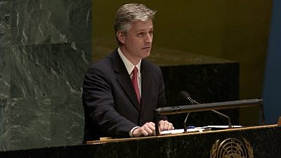 Robert O'Brien addresses the U.N. General Assembly in November 2005. On Sept. 18, 2019, U.S. President Donald Trump named O'Brien to replace John Bolton as national security advisor, Credit: Wikimedia Commons.
