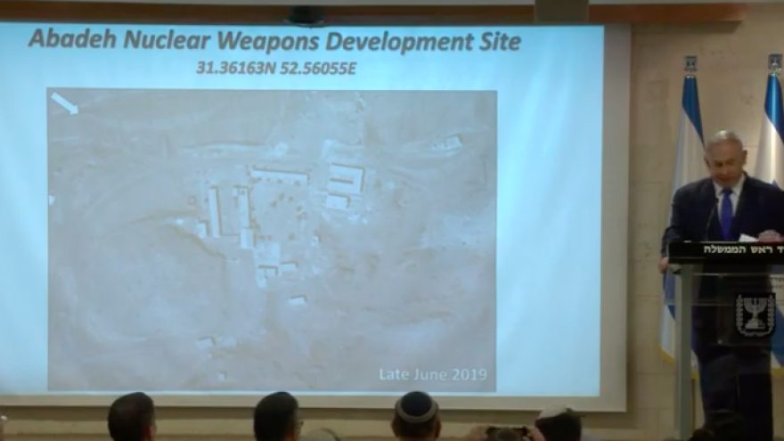 Israeli Prime Minister Benjamin Netanyahu delivers a presentation in Jerusalem on Sept. 9, 2019, about a previously unknown nuclear site in the southwestern Iranian city of Abadan. Credit: Screenshot.