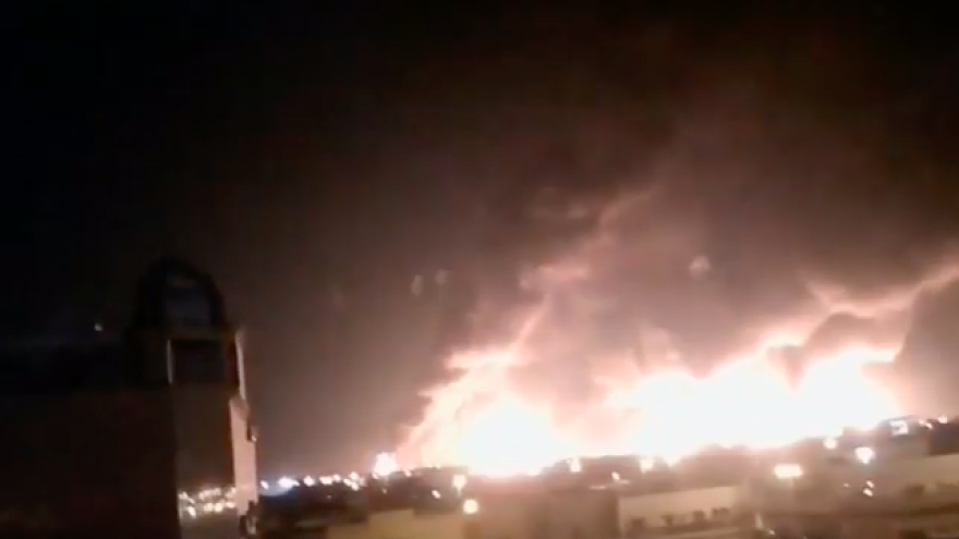 One of the Saudi Aramco oil processing facilities hit in a Sept. 14, 2019 combined missile-and-drone attack attributed to Iran. Source: Screenshot.