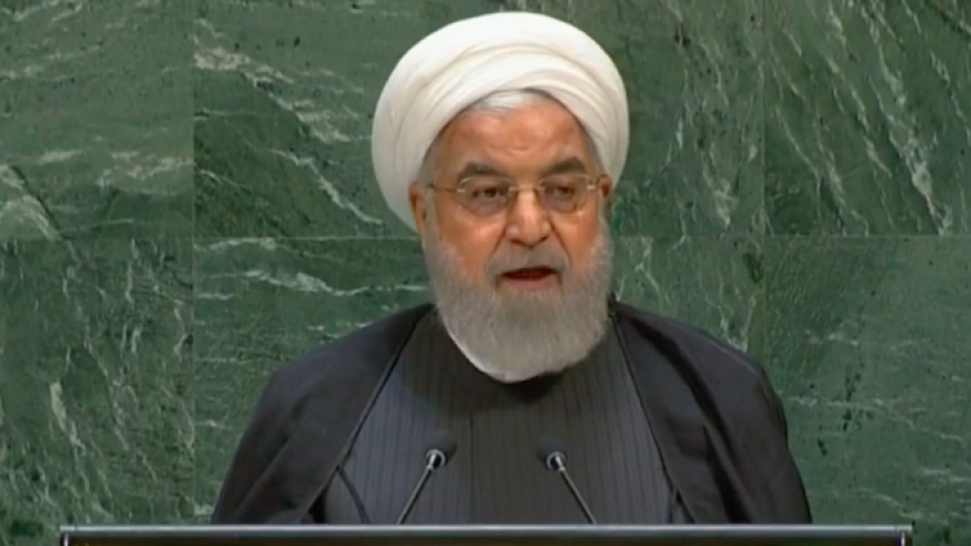 Iranian President Hassan Rouhani addresses the annual U.N. General Assembly in New York on Sept. 25, 2019. Credit: Screenshot.