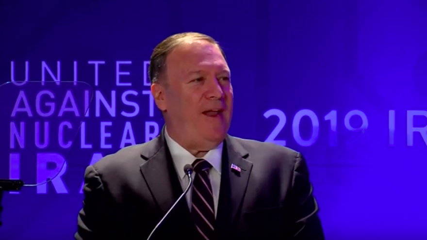 U.S. Secretary of State Mike Pompeo addresses the annual United Against Nuclear Iran Summit in New York on Sept. 25, 2019. Source: Screenshot.