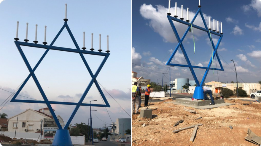 This menorah, the largest in Europe before being shipped to Israel, was donated to the town of Sderot by Christian Zionists as a gesture of solidarity, on Sept. 9, 2019. Source: Screenshot.
