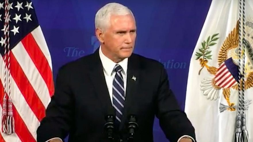 U.S. Vice President Mike Pence addresses the Heritage Foundation in Washington, D.C., on Sept. 17, 2019. Credit: Screenshot.