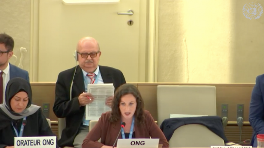 Becca Wertman, deputy editor and Canada Desk researcher at Jerusalem-based research institute NGO Monitor, speaks during the presentation of Agenda Item 7 at the U.N. Human Rights Council in Geneva on Sept. 23, 2019. Credit: Screenshot.