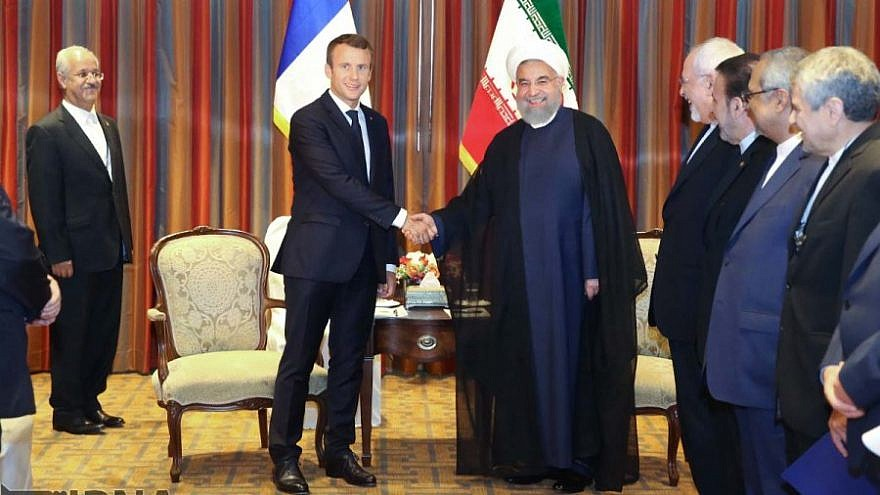 French President Emmanuel Macron with Iran's President Hassan Rouhani before a meeting in New York on Sept. 18, 2017. Credit: Iran Press.