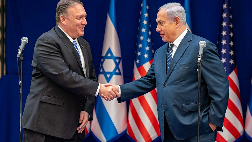 U.S. Secretary of State Mike Pompeo with Israeli Prime Minister Benjamin Netanyahu. Photo by Ron Przysucha.