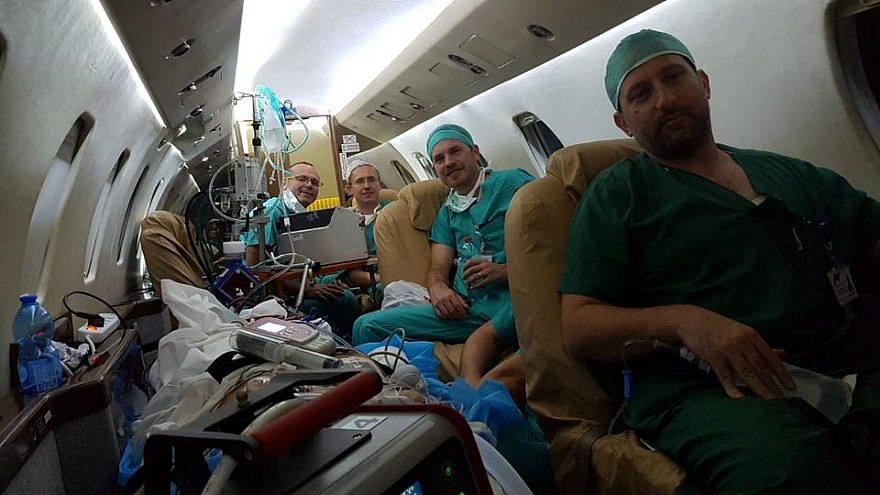 Four Israeli heart specialists from the Sheba Medical Center at Tel Hasomer en route to a hospital in Cyprus with life-saving technology to save a woman who was suffering cardiac issues following childbirth. Source: Facebook.